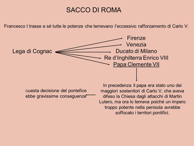 Francesco I trasse a sé tutte le potenze che temevano l'eccessivo rafforzamento di Carlo V. Lega di Cognac Firenze Venezia Ducato di Milano Re d'Inghi
