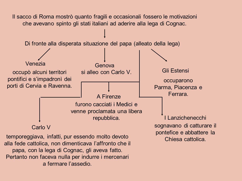 Il sacco di Roma mostrò quanto fragili e occasionali fossero le motivazioni che avevano spinto gli stati italiani ad aderire alla lega di Cognac. Di f