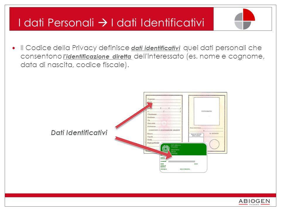 I dati Personali  I dati Identificativi Il Codice della Privacy definisce dati identificativi quei dati personali che consentono l identificazione diretta dell interessato (es.