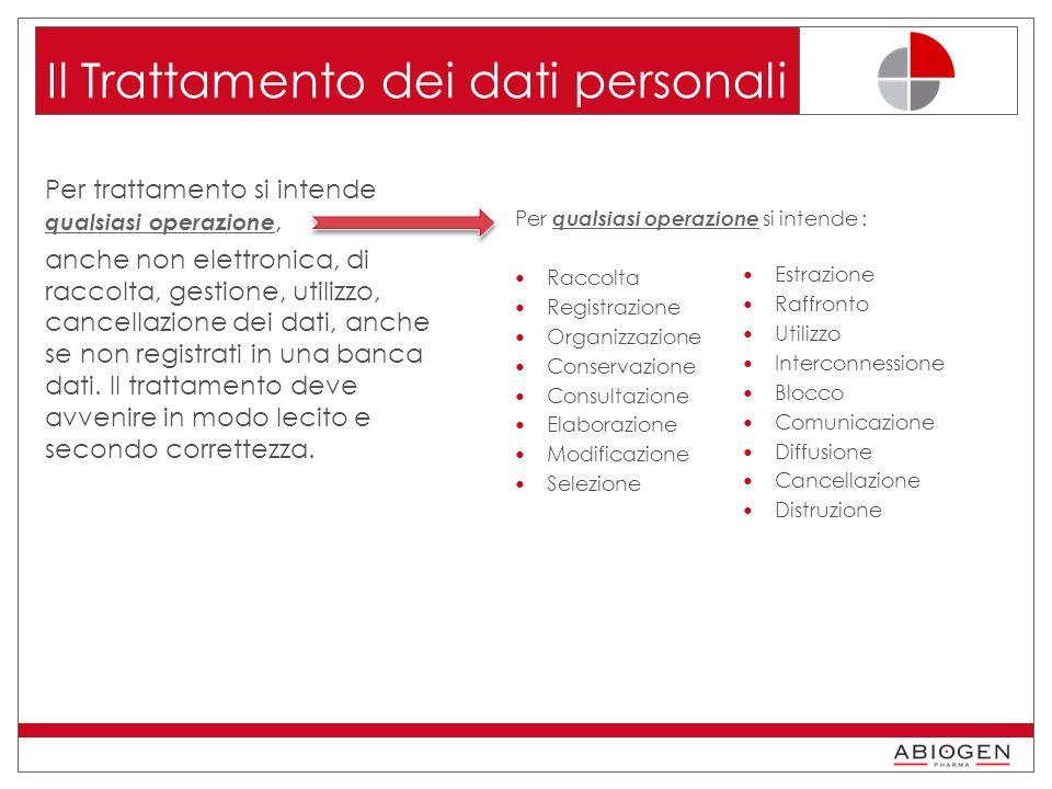 Il Trattamento dei dati personali Per trattamento si intende qualsiasi operazione, anche non elettronica, di raccolta, gestione, utilizzo, cancellazione dei dati, anche se non registrati in una banca dati.
