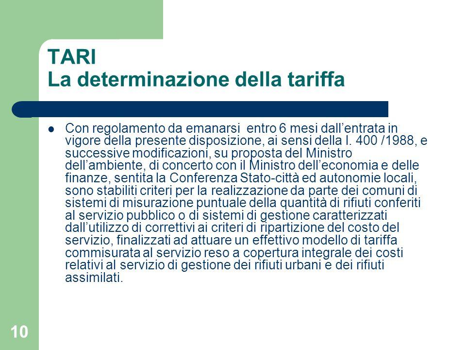 10 TARI La determinazione della tariffa Con regolamento da emanarsi entro 6 mesi dall'entrata in vigore della presente disposizione, ai sensi della l.
