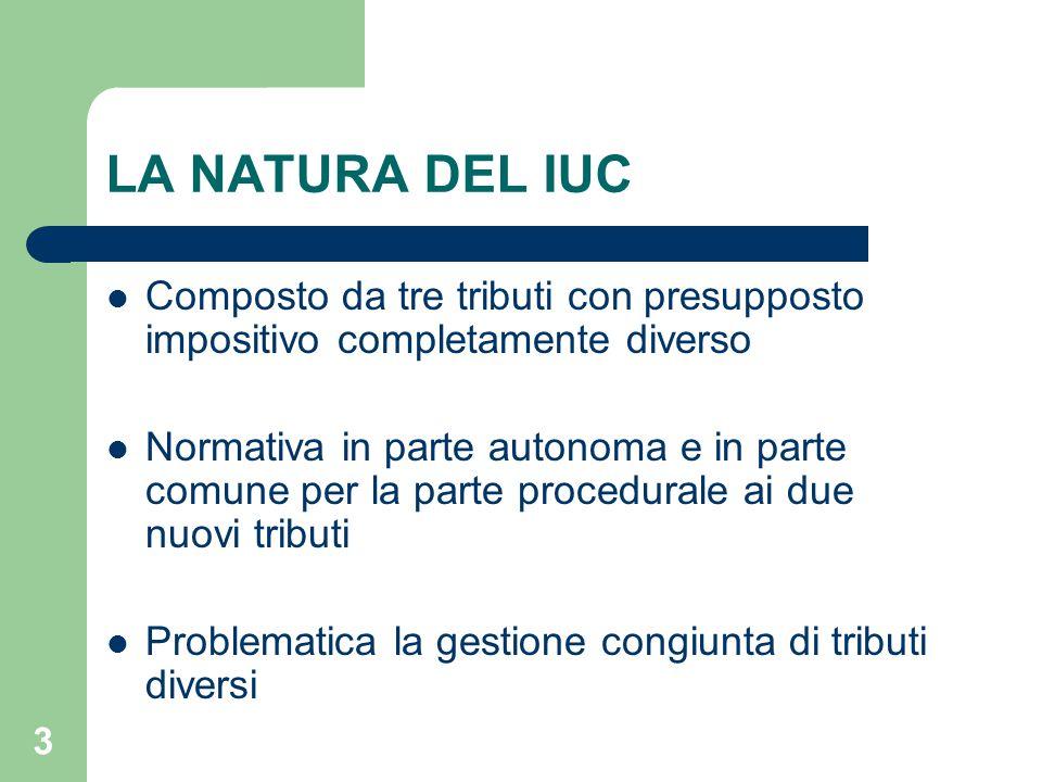 3 LA NATURA DEL IUC Composto da tre tributi con presupposto impositivo completamente diverso Normativa in parte autonoma e in parte comune per la part