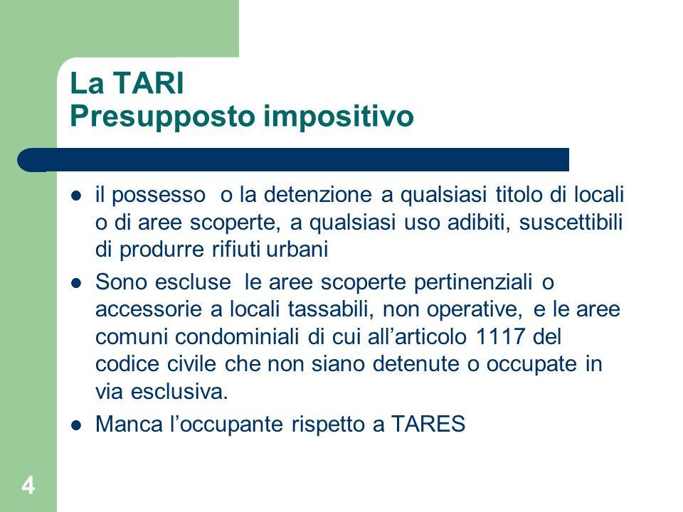 4 La TARI Presupposto impositivo il possesso o la detenzione a qualsiasi titolo di locali o di aree scoperte, a qualsiasi uso adibiti, suscettibili di
