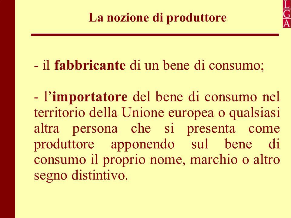 La nozione di produttore - il fabbricante di un bene di consumo; - l'importatore del bene di consumo nel territorio della Unione europea o qualsiasi a