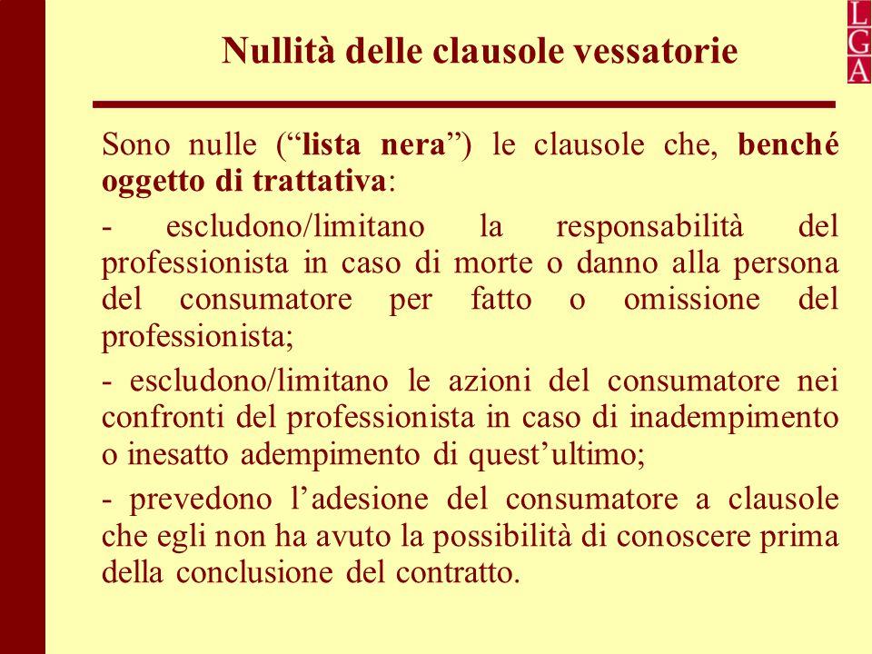 """Nullità delle clausole vessatorie Sono nulle (""""lista nera"""") le clausole che, benché oggetto di trattativa: - escludono/limitano la responsabilità del"""