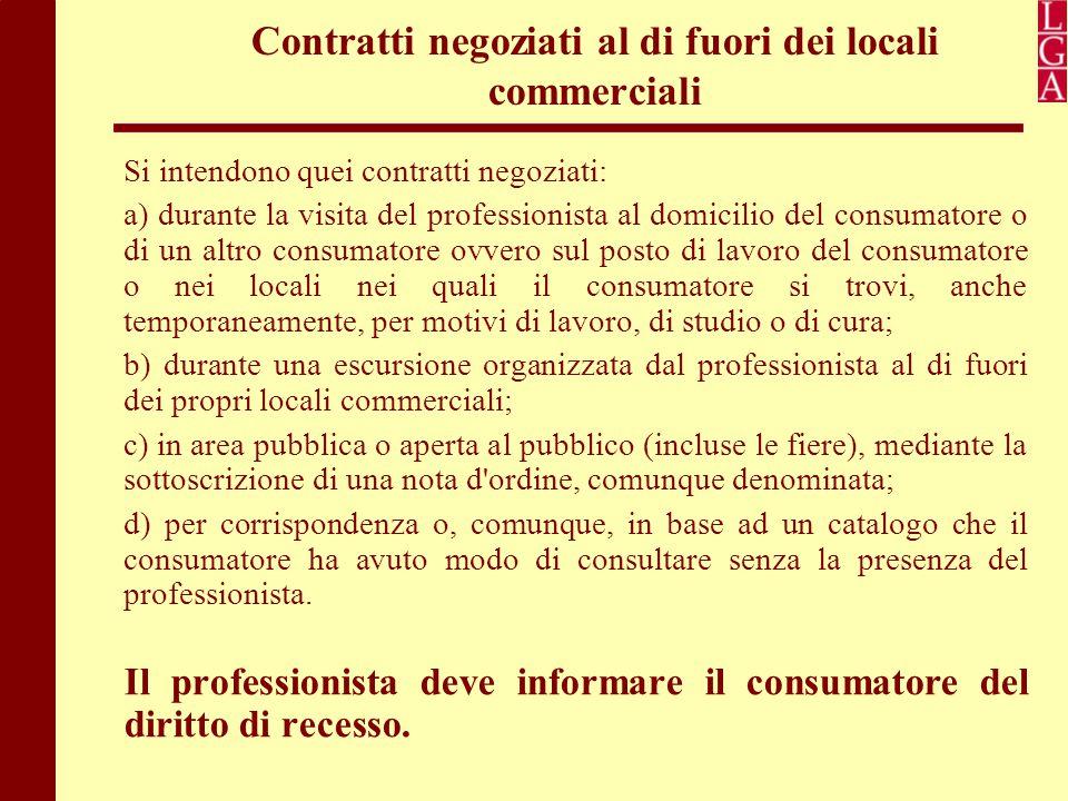 Contratti negoziati al di fuori dei locali commerciali Si intendono quei contratti negoziati: a) durante la visita del professionista al domicilio del