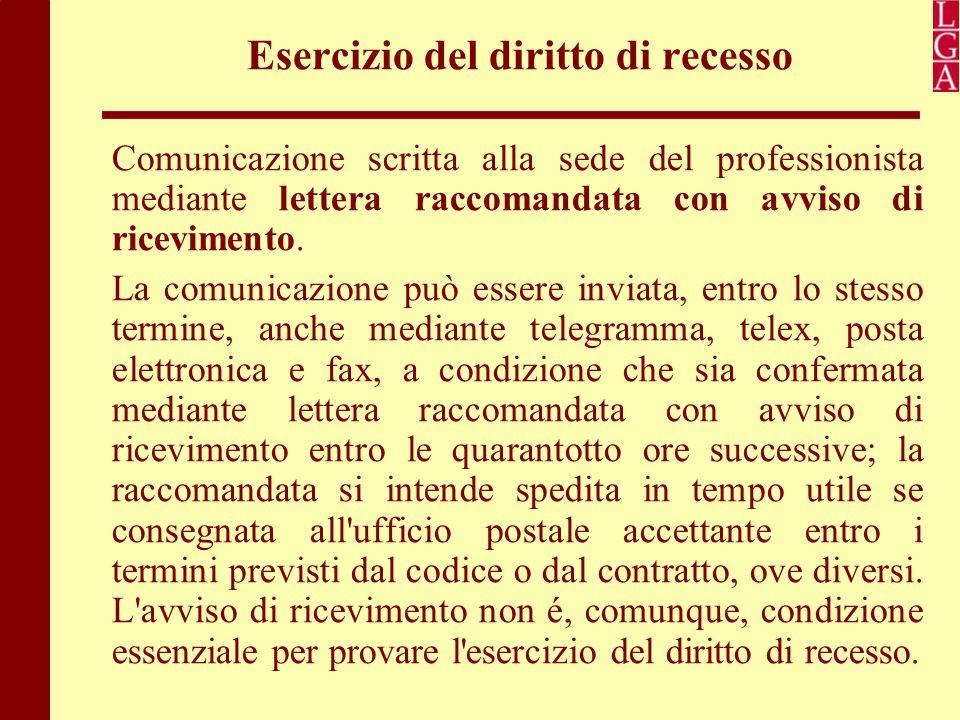 Esercizio del diritto di recesso Comunicazione scritta alla sede del professionista mediante lettera raccomandata con avviso di ricevimento. La comuni