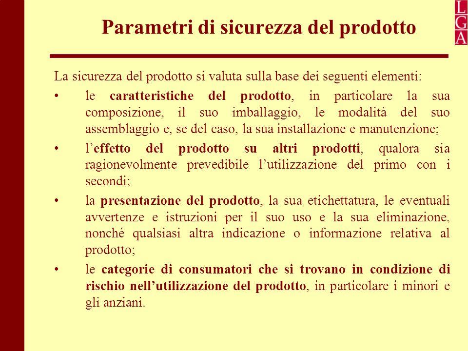 Parametri di sicurezza del prodotto La sicurezza del prodotto si valuta sulla base dei seguenti elementi: le caratteristiche del prodotto, in particol