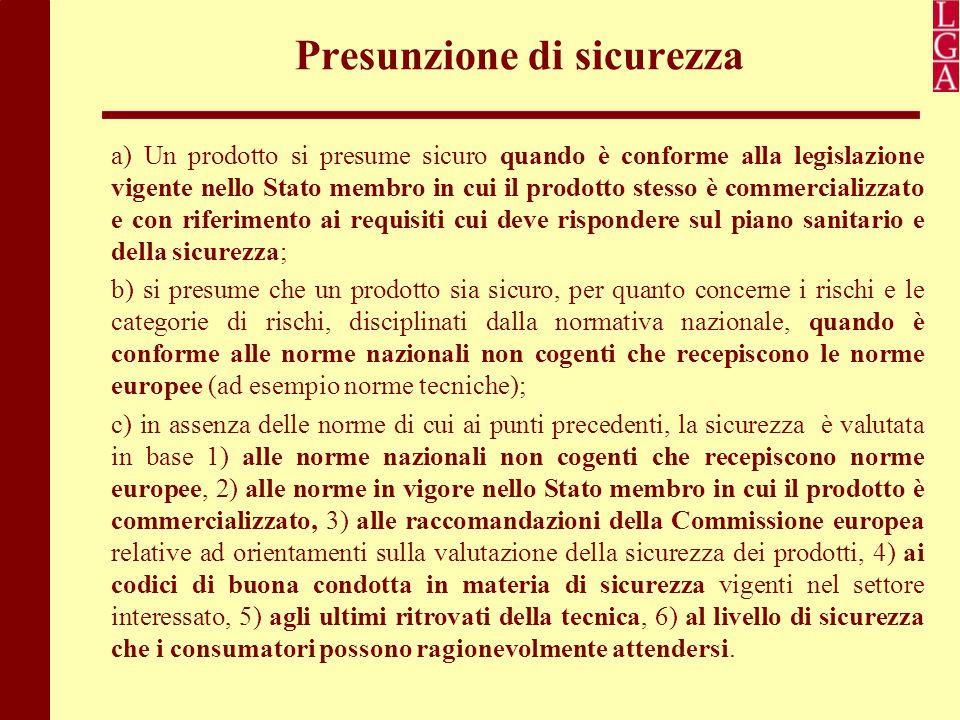 Presunzione di sicurezza a) Un prodotto si presume sicuro quando è conforme alla legislazione vigente nello Stato membro in cui il prodotto stesso è c