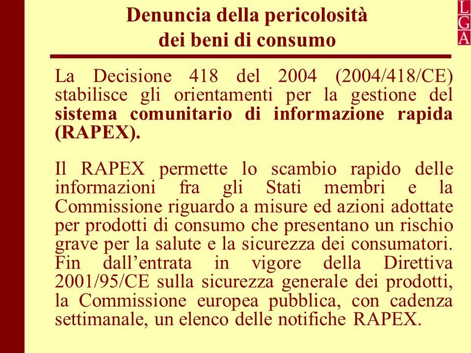 Denuncia della pericolosità dei beni di consumo La Decisione 418 del 2004 (2004/418/CE) stabilisce gli orientamenti per la gestione del sistema comuni