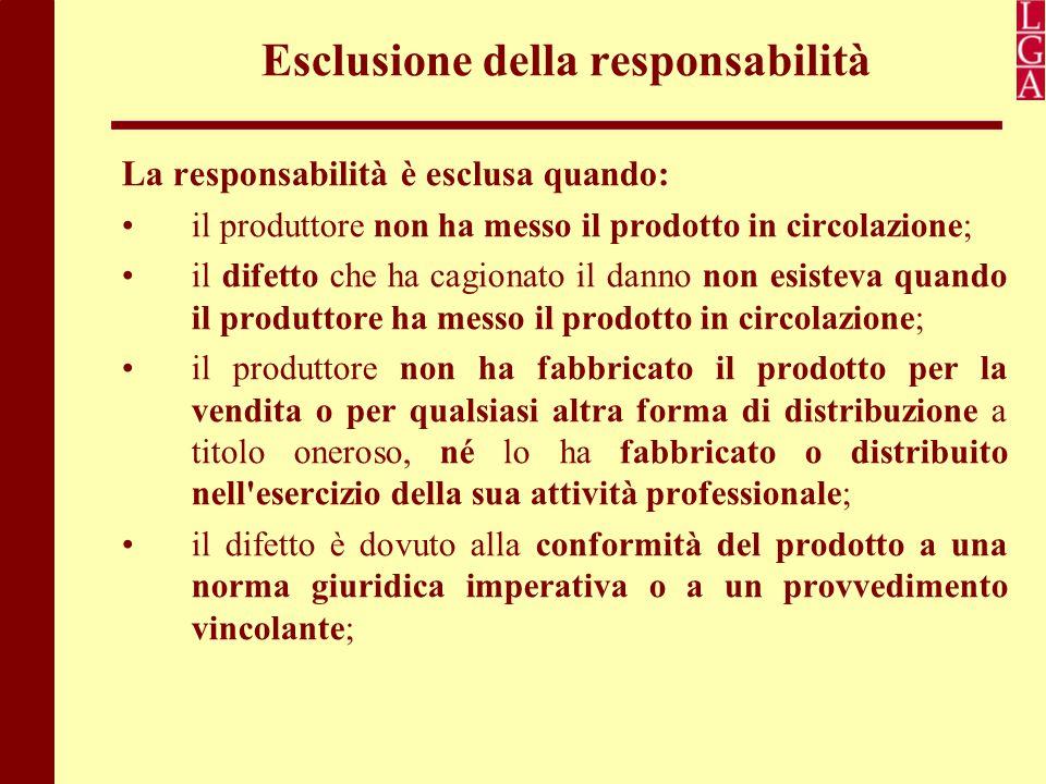 Esclusione della responsabilità La responsabilità è esclusa quando: il produttore non ha messo il prodotto in circolazione; il difetto che ha cagionat
