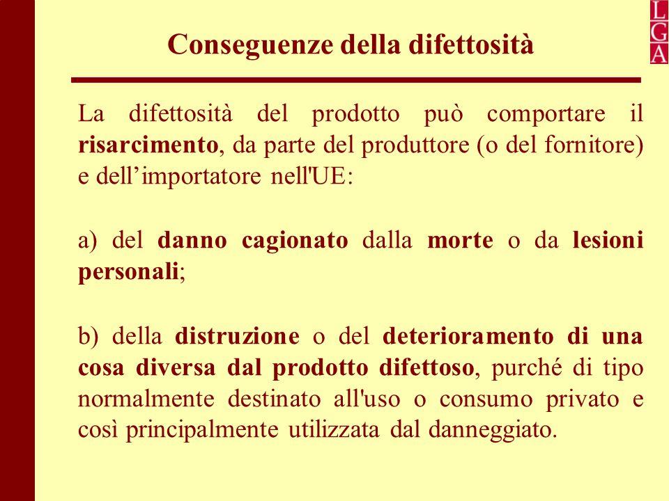 Conseguenze della difettosità La difettosità del prodotto può comportare il risarcimento, da parte del produttore (o del fornitore) e dell'importatore