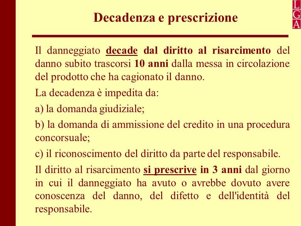 Decadenza e prescrizione Il danneggiato decade dal diritto al risarcimento del danno subito trascorsi 10 anni dalla messa in circolazione del prodotto