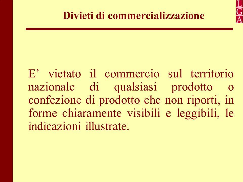 Divieti di commercializzazione E' vietato il commercio sul territorio nazionale di qualsiasi prodotto o confezione di prodotto che non riporti, in for
