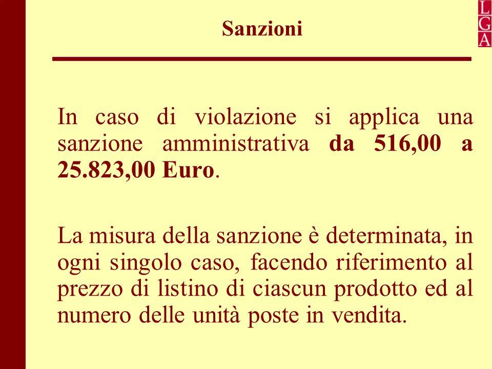 Sanzioni In caso di violazione si applica una sanzione amministrativa da 516,00 a 25.823,00 Euro. La misura della sanzione è determinata, in ogni sing