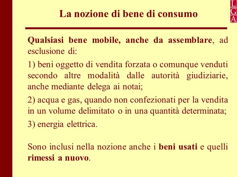 La nozione di bene di consumo Qualsiasi bene mobile, anche da assemblare, ad esclusione di: 1) beni oggetto di vendita forzata o comunque venduti seco