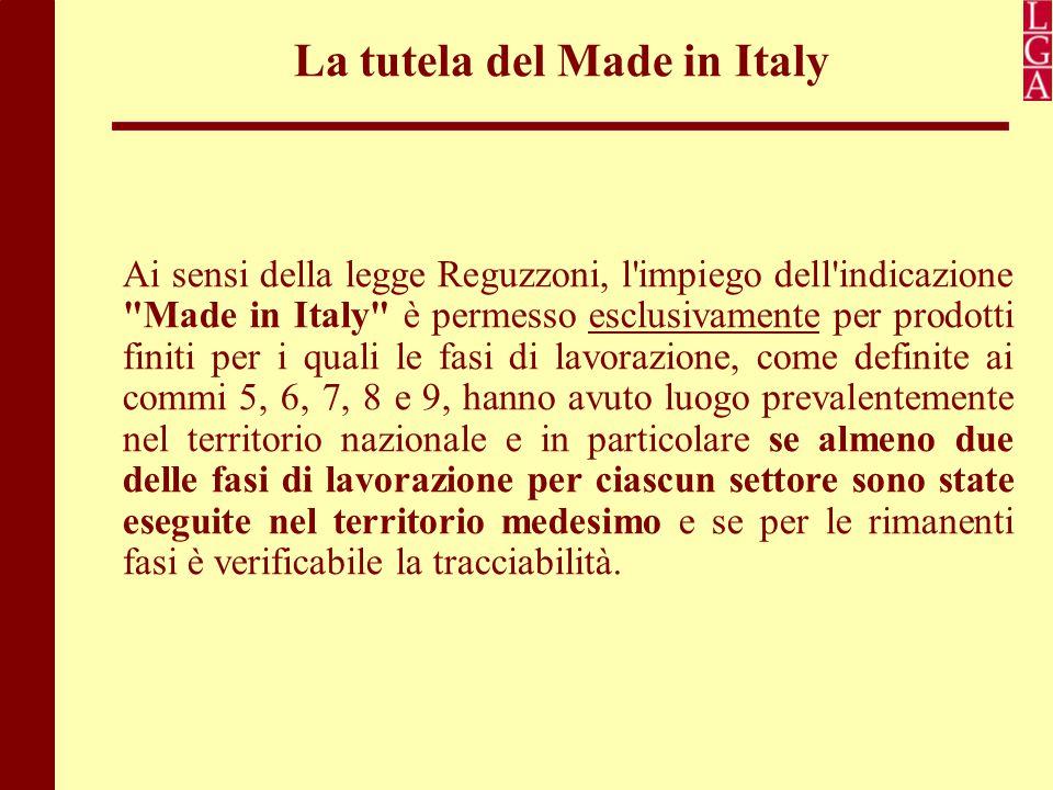 La tutela del Made in Italy Ai sensi della legge Reguzzoni, l'impiego dell'indicazione