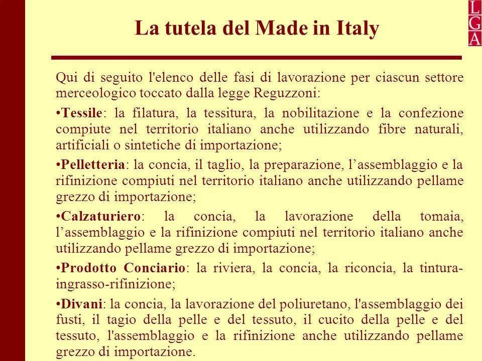 La tutela del Made in Italy Qui di seguito l'elenco delle fasi di lavorazione per ciascun settore merceologico toccato dalla legge Reguzzoni: Tessile: