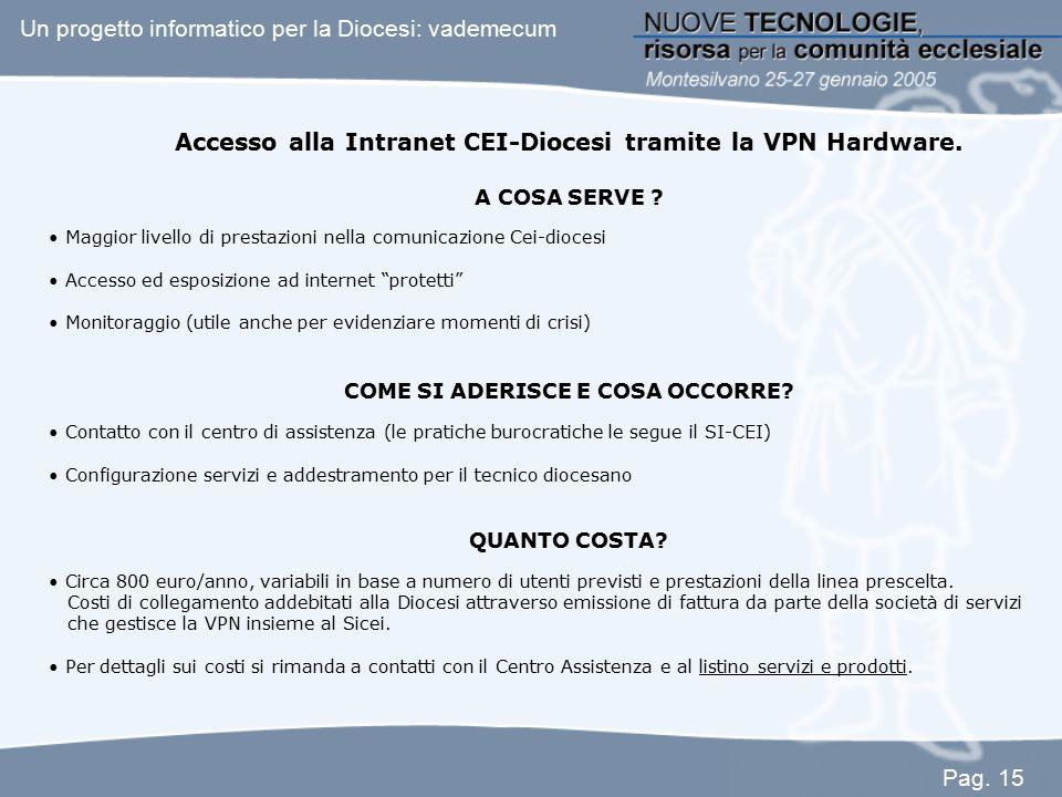 Accesso alla Intranet CEI-Diocesi tramite la VPN Hardware. A COSA SERVE ? Maggior livello di prestazioni nella comunicazione Cei-diocesi Accesso ed es