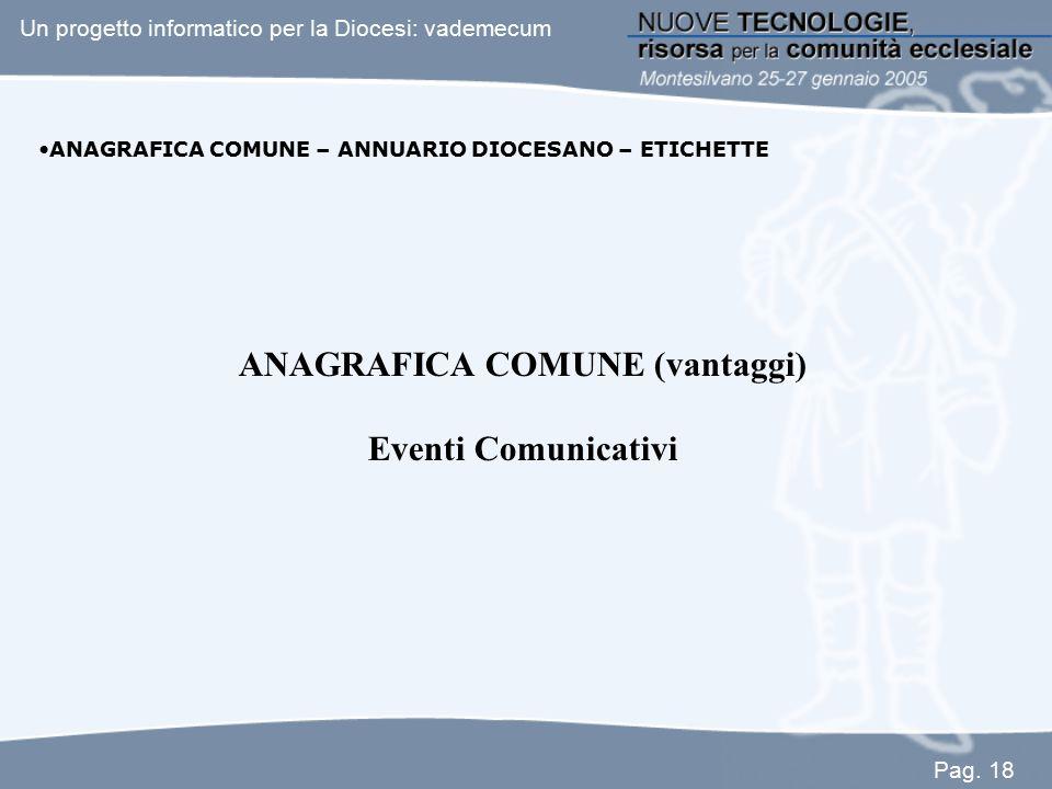 ANAGRAFICA COMUNE – ANNUARIO DIOCESANO – ETICHETTE ANAGRAFICA COMUNE (vantaggi) Eventi Comunicativi Un progetto informatico per la Diocesi: vademecum