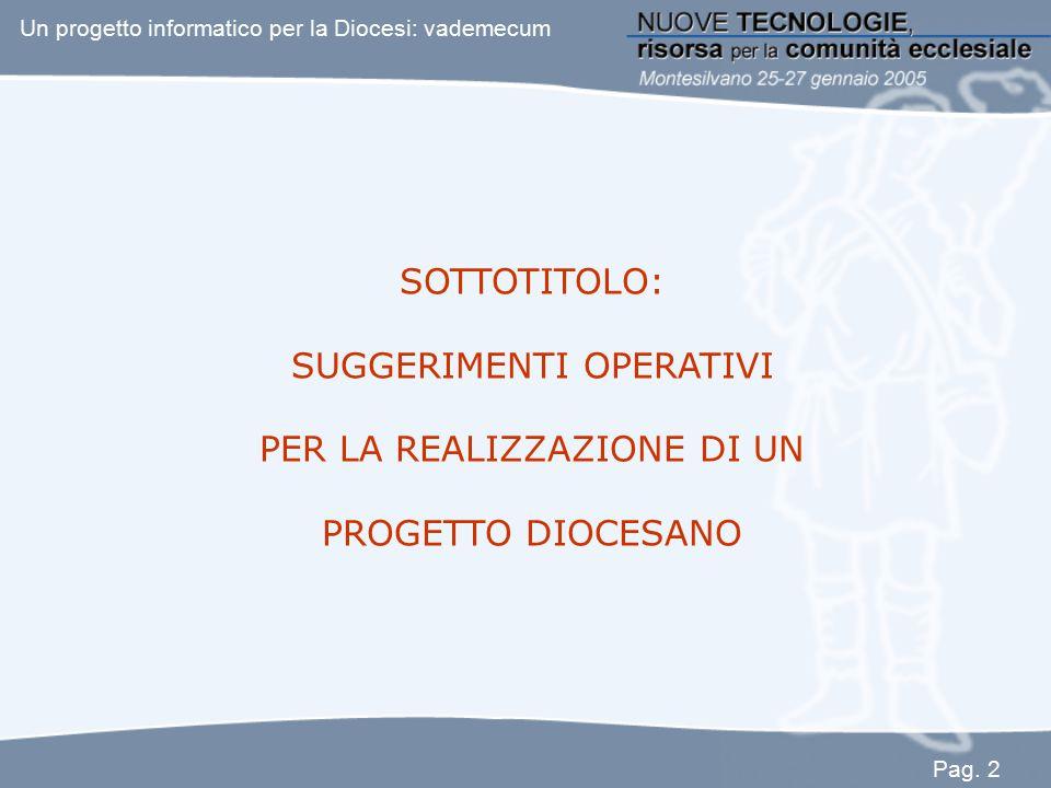 SOTTOTITOLO: SUGGERIMENTI OPERATIVI PER LA REALIZZAZIONE DI UN PROGETTO DIOCESANO Un progetto informatico per la Diocesi: vademecum Pag. 2