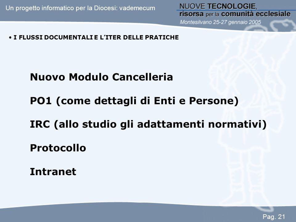 I FLUSSI DOCUMENTALI E L'ITER DELLE PRATICHE Nuovo Modulo Cancelleria PO1 (come dettagli di Enti e Persone) IRC (allo studio gli adattamenti normativi