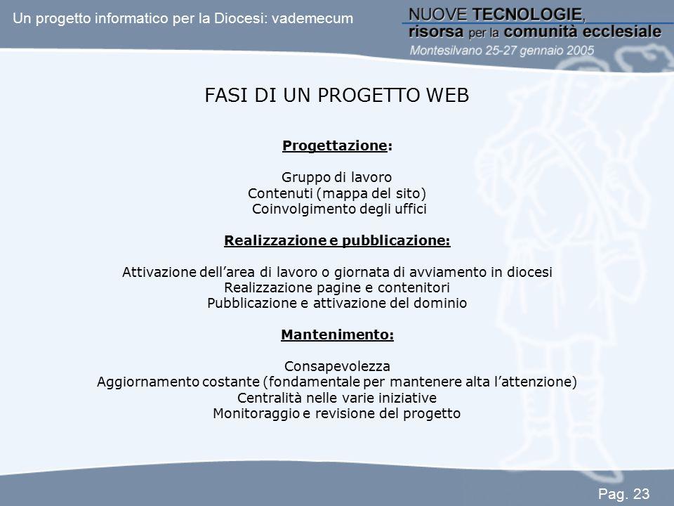 FASI DI UN PROGETTO WEB Progettazione: Gruppo di lavoro Contenuti (mappa del sito) Coinvolgimento degli uffici Realizzazione e pubblicazione: Attivazi