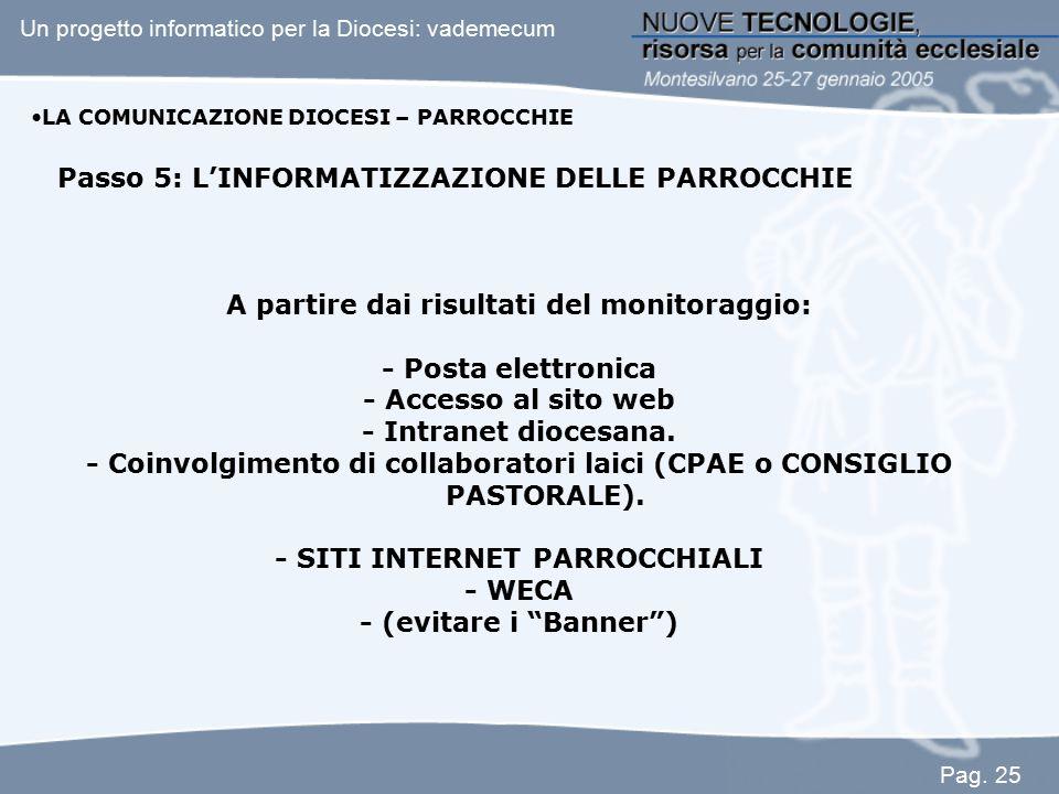 Passo 5: L'INFORMATIZZAZIONE DELLE PARROCCHIE A partire dai risultati del monitoraggio: - Posta elettronica - Accesso al sito web - Intranet diocesana
