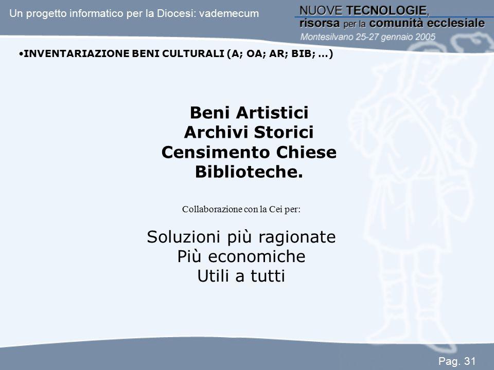 INVENTARIAZIONE BENI CULTURALI (A; OA; AR; BIB; …) Beni Artistici Archivi Storici Censimento Chiese Biblioteche. Collaborazione con la Cei per: Soluzi