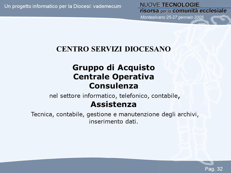 CENTRO SERVIZI DIOCESANO Gruppo di Acquisto Centrale Operativa Consulenza nel settore informatico, telefonico, contabile, Assistenza Tecnica, contabil