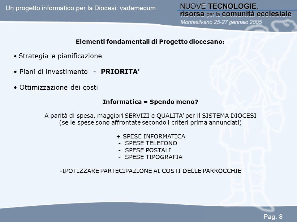 Elementi fondamentali di Progetto diocesano: Strategia e pianificazione Piani di investimento - PRIORITA' Ottimizzazione dei costi Informatica = Spend