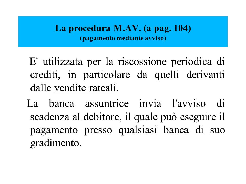 La procedura M.AV. (a pag.