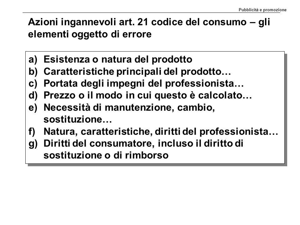 Azioni ingannevoli art. 21 codice del consumo – gli elementi oggetto di errore a)Esistenza o natura del prodotto b)Caratteristiche principali del prod