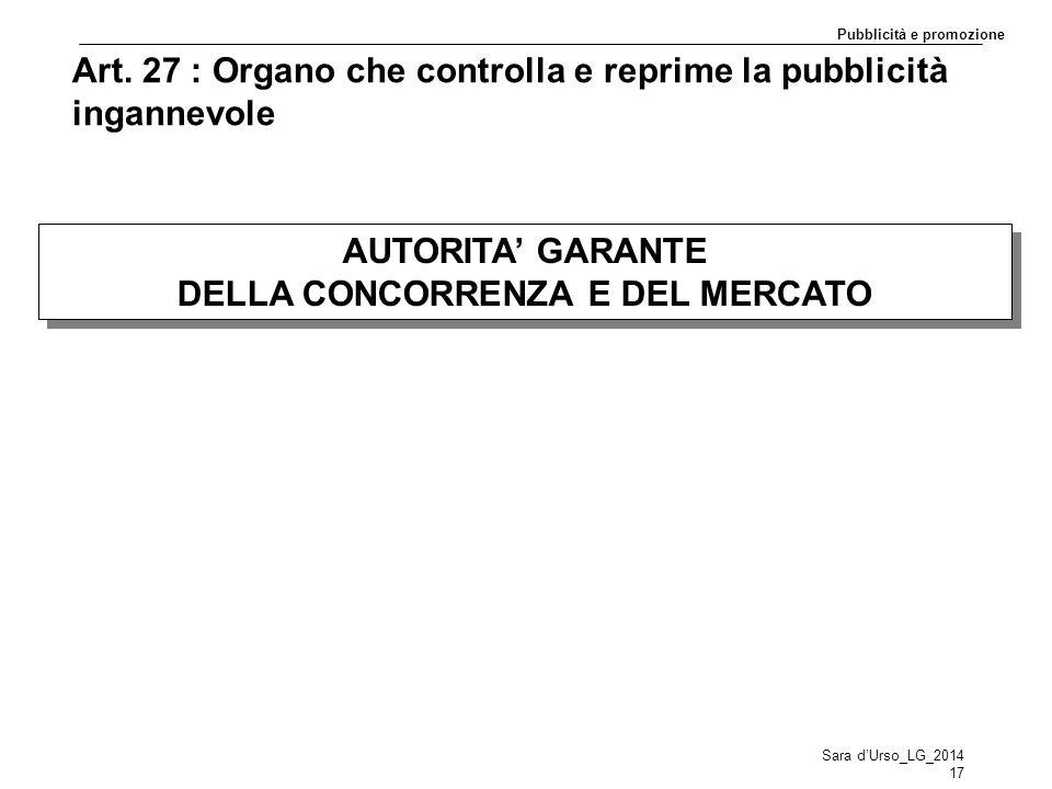 Art. 27 : Organo che controlla e reprime la pubblicità ingannevole AUTORITA' GARANTE DELLA CONCORRENZA E DEL MERCATO AUTORITA' GARANTE DELLA CONCORREN