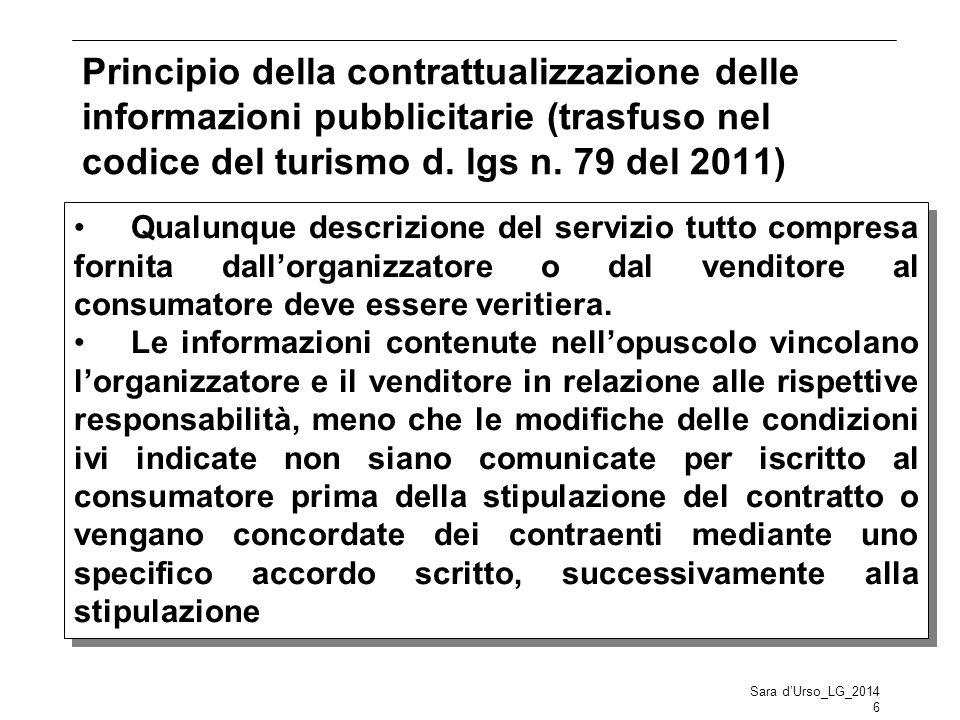 Principio della contrattualizzazione delle informazioni pubblicitarie (trasfuso nel codice del turismo d. lgs n. 79 del 2011) Sara d'Urso_LG_2014 6 Qu