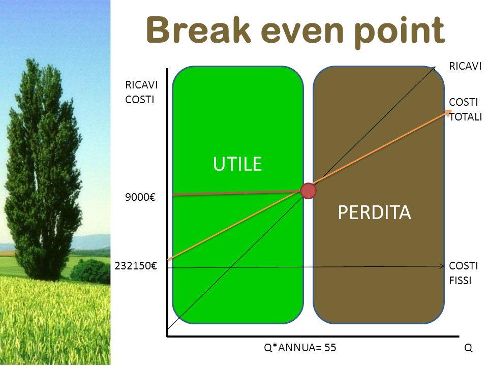 Break even point RICAVI COSTI 9000€ 232150€ Q*ANNUA= 55Q RICAVI COSTI TOTALI COSTI FISSI PERDITA UTILE