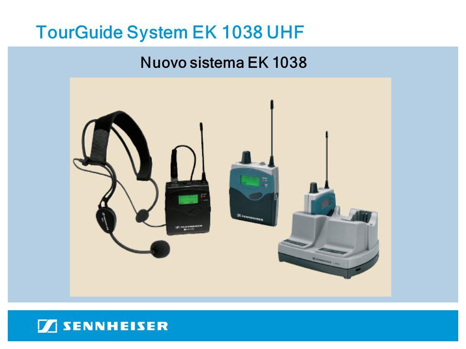 TourGuide System EK 1038 UHF Ricevitore EK 1038 bodypack robusto in metallo con clip di fissaggio fino a 16 canali nelle frequenze UHF 830-866 MHz (4 canali nella banda ISM 863 –865 MHz – Vedere tabella) ingresso cuffie jack 3.5mm stereo pacco batterie BA 2015 ricaricabili incluse (oppure 2x1.5 V AA ) Ricaricatore L 2015 permette di ricaricare 2 ricevitori EK 1038 spegnimento automatico del ricevitore all'atto di inserimento possibilità di collegare fino a 3 barre di ricarica contemporaneamente alimentatori NT 1 (1 barra) o NT 3 (fino a tre barre) Trasmettitori evolution wireless G2 qualsiasi trasmettitore della serie evolution G2 ESCLUSIVAMENTE su freq.