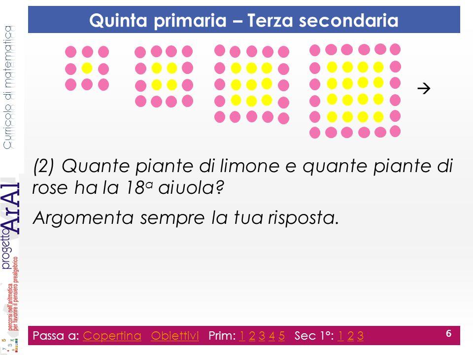 Ricava le regole per trovare il numero: (3) di piante di limone di una qualsiasi aiuola.