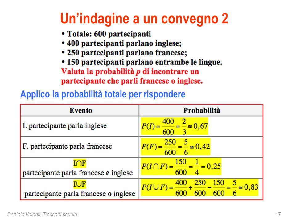 17Daniela Valenti, Treccani scuola Un'indagine a un convegno 2 Applico la probabilità totale per rispondere