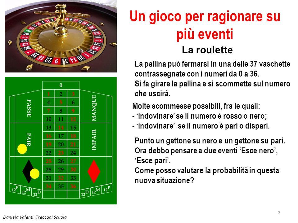 2 Un gioco per ragionare su più eventi La roulette La pallina può fermarsi in una delle 37 vaschette contrassegnate con i numeri da 0 a 36. Si fa gira