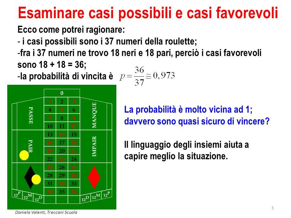 Daniela Valenti, Treccani Scuola 3 Esaminare casi possibili e casi favorevoli Ecco come potrei ragionare: - i casi possibili sono i 37 numeri della ro