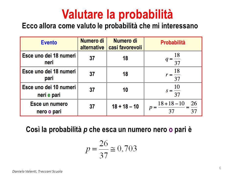 Daniela Valenti, Treccani Scuola 6 Valutare la probabilità Ecco allora come valuto le probabilità che mi interessano Così la probabilità p che esca un numero nero o pari è