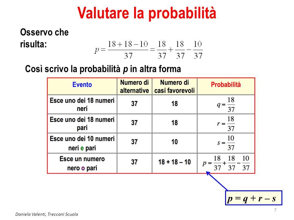 Daniela Valenti, Treccani Scuola 7 Valutare la probabilità Osservo che risulta: p = q + r – s Così scrivo la probabilità p in altra forma