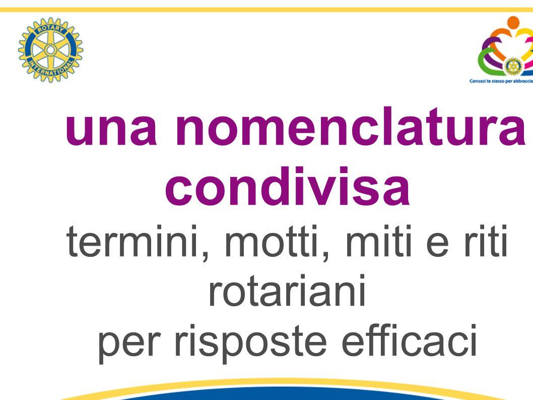 una nomenclatura condivisa termini, motti, miti e riti rotariani per risposte efficaci 1° Seminario «Identità e Comunicazione Rotariana» - R.C. Latina