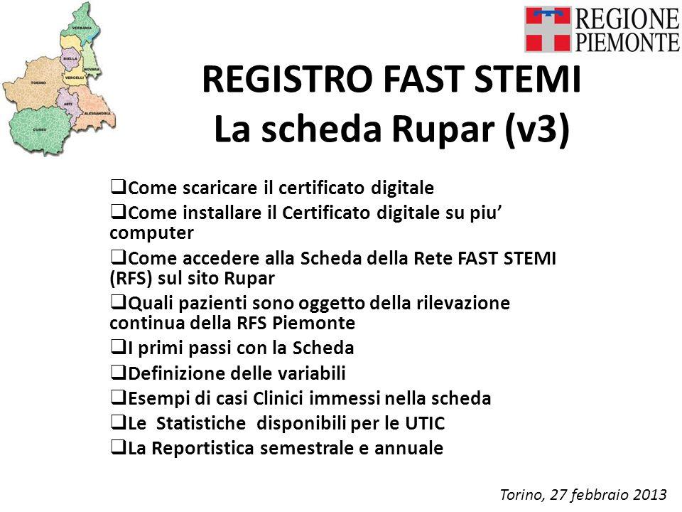REGISTRO FAST STEMI La scheda Rupar (v3)  Come scaricare il certificato digitale  Come installare il Certificato digitale su piu' computer  Come ac