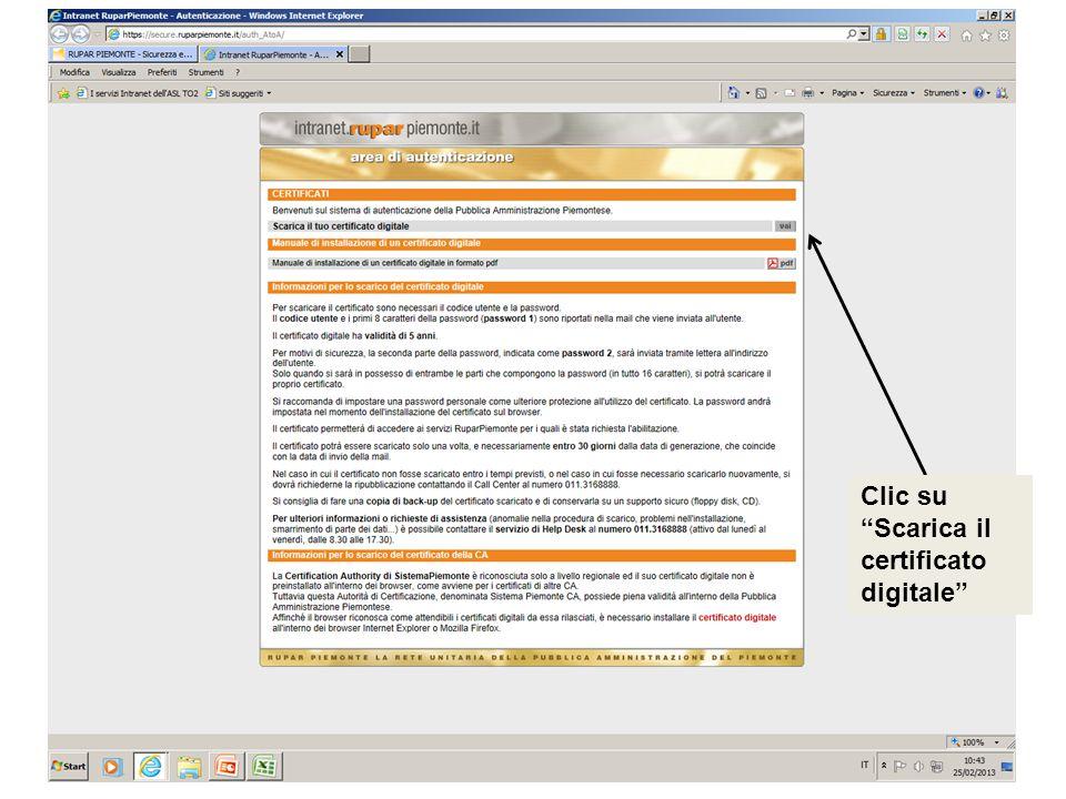 Clic su Scarica il certificato digitale