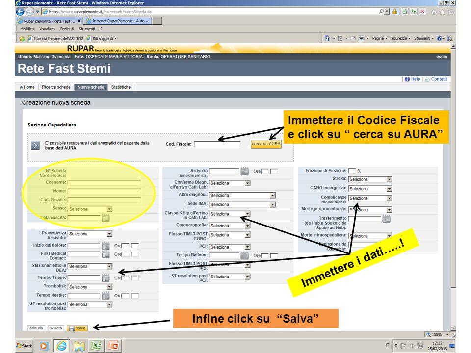 Infine click su Salva Immettere il Codice Fiscale e click su cerca su AURA Immettere i dati…..!