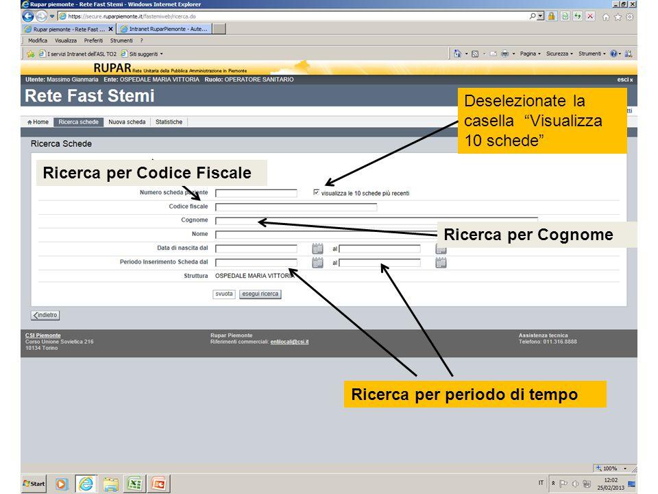 Ricerca per periodo di tempo Ricerca per Codice Fiscale Ricerca per Cognome Deselezionate la casella Visualizza 10 schede