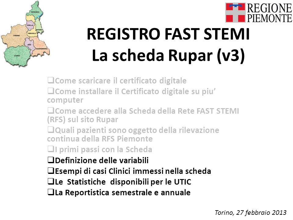REGISTRO FAST STEMI La scheda Rupar (v3)  Come scaricare il certificato digitale  Come installare il Certificato digitale su piu' computer  Come accedere alla Scheda della Rete FAST STEMI (RFS) sul sito Rupar  Quali pazienti sono oggetto della rilevazione continua della RFS Piemonte  I primi passi con la Scheda  Definizione delle variabili  Esempi di casi Clinici immessi nella scheda  Le Statistiche disponibili per le UTIC  La Reportistica semestrale e annuale Torino, 27 febbraio 2013