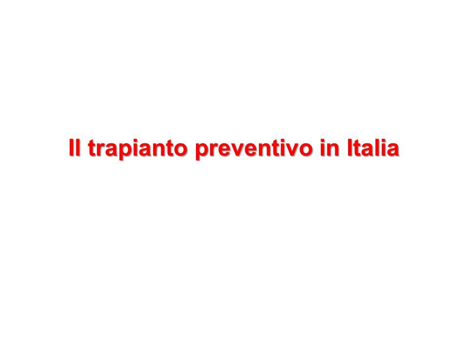 Il trapianto preventivo in Italia